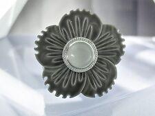 """Perlmutt-Scheibe - """"Blume Grau-Weiß"""" - kompatibel mit Charlotte 21 , Ring Ding"""