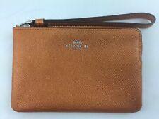 New Authentic Coach F21070 Leather Corner Zip Wristlet Metallic Orange Gift BOX