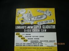 LOMBARD SUPER GLADIATOR D-40A CHAIN SAW BROCHURE Vintage Factory Original 1950s