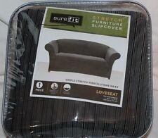 SureFit Simple Stretch Ribbon Stripe Gray Loveseat Slipcover One Piece new