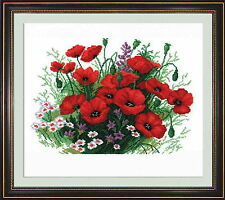 Poppies - Counted Cross Stitch Kit with Color Symbolic Scheme Art:615