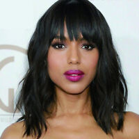 Synthetic Wigs for Women Short Black Wavy Hair With Bangs Natural women's wig