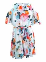 Calvin Klein Women's Cold Shoulder Floral-Print A-Line Dress (12, White Multi)