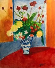 Jeffrey Lloyd Barnes Original 20x16 Still Life Painting Flowers in Vase, Fauvism