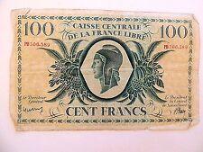 """1941 Caisse Centrale De La France Libre """"Congo"""" 100 Francs War Note (Rare)"""