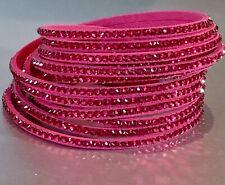 Slake Crystal Wrap Bracelet made w Swarovski Crystal Fuchsia Alcantara ® Leather