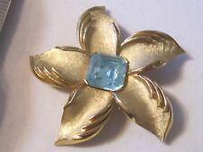 Signed CROWN TRIFARI Vintage FLOWER BROOCH PIN Aqua Glass Rhinestone Gold Tone