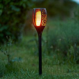 True Flame Solar Torch Light Warm white LED Flickering Stake Outdoor Garden UK