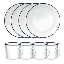 White Enamel Camping Dinner Set Inc 4 x 24cm Soup Plates + 4 x 9cm Mugs