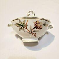 Vintage1960's Meito Ivory China WOODROSE Sugar Bowl With Lid Gold Trim Japan