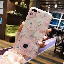 3D Pink Flower Clear Matte Silicone Gel Soft TPU Case Cover For Apple iPhone 7
