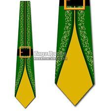 Elf Suit Green and Yellow Elves Tie Men's Christmas Holiday Neck Ties