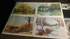"Vintage Art Painting Prints Lot 4 Sherman Pehrson WIldlife Four Seasons 11X14"""