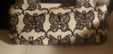 Vintage Purse with Butterflies Cream with Wood Handles