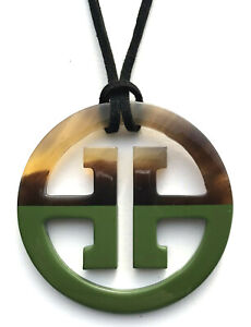 camilieri Horn Anhänger Kette Hornanhänger oliv grün braun Lack Design NEU