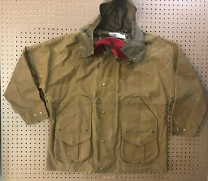 MENS 2XL - Vtg C.C. Filson Lined Oiled Zip Snap Jacket Made USA