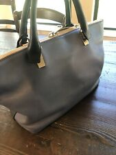 CHLOE Baylee Medium Blue Two-Tone Leather Tote Bag $2,050