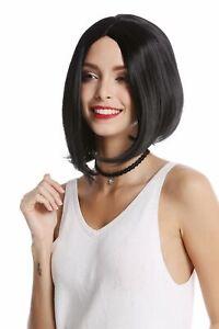 Wig Women's Wig Short Shoulder Length Long Bob Middle Part Smooth Black