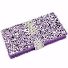 Samsung Galaxy S5 - PURPLE DIAMOND RHINESTONE STUDS CARD WALLET DIARY POUCH CASE