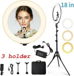 "18"" LED Ring Light Light Stand Dimmable Photo Studio Selfie Phone Live 3 Holder"