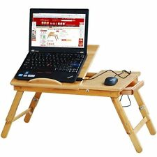 Large Folding Carbonized Wooden Bamboo Laptop Desk Table Breakfast Tray laptop