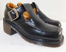 Dr.Martens Black Leather Strap Heel Clogs sz 5 US / 3 UK MADE IN ENGLAND EUC!