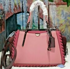 NWT COACH DREAMER Colorblock Whipstitch Satchel Bag In TRUE PINK / MULTI Leather