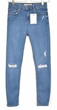 Topshop Skinny JAMIE High Waisted Blue RIPPED FRAYED Jeans Size 8 W26 L30