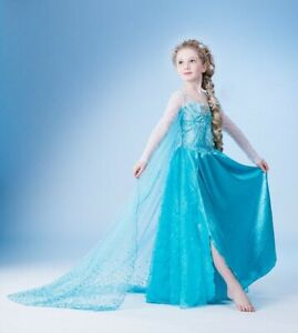 NEW Girls Dresses Costume Princess Elsa Cosplay Birthday Party size 2-10 years