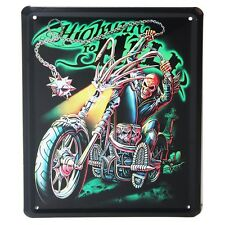 Contemporary Metal Tin Hanging Sign Wall Plaque Highway to Hell Biking 15x21cm