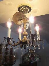 Lovely Vintage Bronze Finish Smaller Chandelier Crystal Prisms lighting