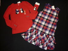 NWT Gymboree Winter Penguin purple plaid dress 9, red top 8 & knee socks set