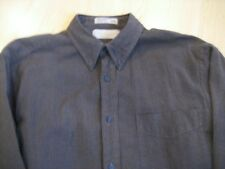Mens SZ M Haggar CITY CASUALS Brown Black BUTTON DOWN DRESS SHIRT Plaid COTTON