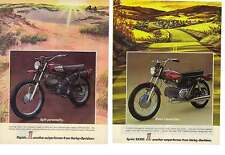 1972 AMF Harley Davidson 2 Separate Motorcycle Ads for Rapido & Sprint SS350