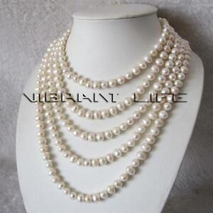 """100"""" 7-9mm White Freshwater Pearl Strand Necklace Cultured UE"""
