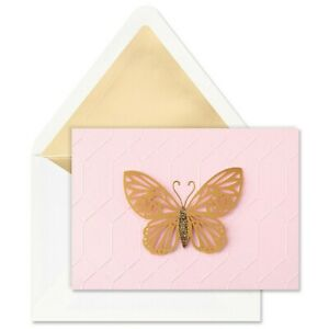Hallmark Notecards SET of 8 ~ 3D Gold Filigree Butterfly on Pink Embossed Card