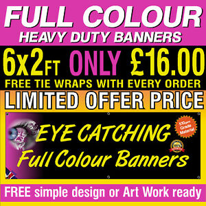 6ft x 2ft  PVC Banners Outdoor Vinyl Banner Advertising Sign Display 0001b