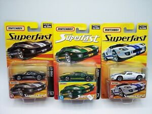 "3X ""MATCHBOX"" SUPERFAST FORD GT No. 41 & 67 GREEN BLACK WHITE MOC"