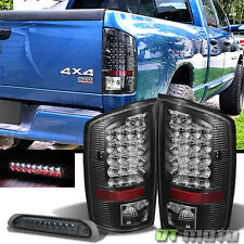 Black 2002-2006 Dodge Ram Led Tail Lights +Smoked LED 3rd Brake Lamp Left+Right