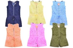 GIRLS COTTON LACE CONTRAST ZIP FRONT SHORTS ALL IN ONE PLAYSUIT Size 4-14 Years