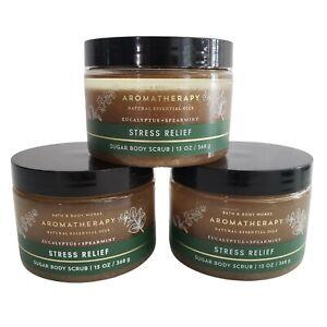 3 Stress Relief Eucalyptus Spearmint Sugar Scrub Aromatherapy Bath & Body Works