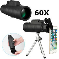 HD 50X60 Zoom Optical HD Lens Monocular Telescope + Tripod + Clip For Smartphone