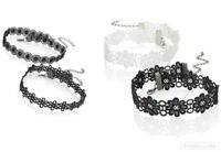 2Pcs Choker Necklace Set Stretch Classic Gothic Tattoo Lace Retro Black White