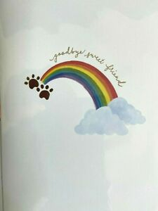 Papyrus Sympathy card for Pet Dog - Goodbye Sweet Friend, Rainbow, Gold Embossed