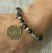 Bracelet Feng Shui Chakra perles noires Bagua ou Pakua métal Zen 21198