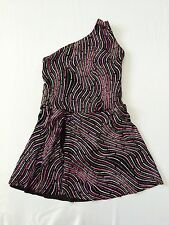 The Competitor Dance Costume Dress Girls Size Large L C545 Purple Black Glitter