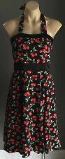 Hand Made Pin Up 50's Red, Black, Green Cherry Print Halter Dress Size 10/12