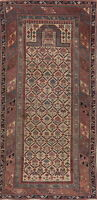 Antique 3x6 Kazak Caucasian Wool Area Rug Hand-Knotted Oriental Geometric Carpet