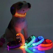 LED Light Glowing Dog Collar Leopard Nylon Pet Dog Colar Night Safety Luminous
