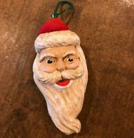 "Vintage Carved Wood Santa Christmas Ornament Folk Art 5"" Tall"
